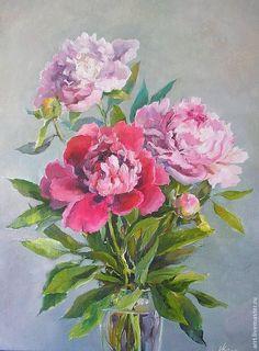 Купить Три розовых пиона Картина холст масло 27 на38см - розовый, пион, пионы