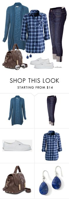 """""""Casual in Blue"""" by kellyloveschristmas ❤ liked on Polyvore featuring Miss Selfridge, Current/Elliott, Vans, Fendi, boyfriend jeans, long cardigans, white canvas shoes, plaid shirts, capris and casual"""