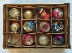 Vintage Christmas Ornaments---Set of Eleven (11.) Made in America.