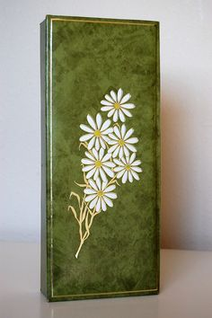 Vintage Glove Box Green and White Daisy Retro by SprinklesInTime, $5.50