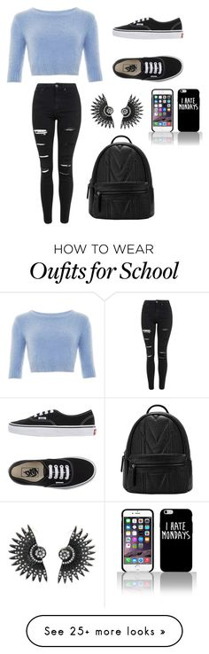 """School outfit"" by rubimarie0717 on Polyvore featuring Vans, Topshop, women's clothing, women's fashion, women, female, woman, misses and juniors"