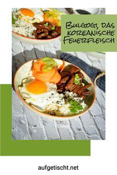Wir haben uns am Wochenende eine richtig leckere Bulgogi Bowl gegönnt. Im WOK scharf angebraten und mit Reis, Spiegelei und knackigem Gemüse in einer Bowl serviert. Nicht nur wir, sondern auch den Kids hat es megamäßig geschmeckt. Wir essen dieses koreanische Gericht irrsinnig gerne und daher möchten wir euch das Rezept gerne vorstellen. Yummy, diese Bulgogi Beef Bowl Bulgogi, Bbq Grill, International Recipes, Creative Food, Delish, Cooking, Ethnic Recipes, Inspiration, Dinner