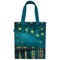"""Sac """"Nuit étoilée"""" 19 € ;   Ce sac reprend une partie de l'œuvre de Van Gogh La nuit étoilée conservée au musée d'Orsay.  Dès son arrivée à Arles, le 8 février 1888, la représentation des """"effets de nuit"""" constitue une préoccupation constante pour Van Gogh. Il peint d'abord un coin de ciel nocturne dans La terrasse d'un café sur la place du forum à Arles (Otterlo, Rijksmuseum Kröller-Muller). Puis cette vue du Rhône où il transcrit magnifiquement les couleurs qu'il perçoit dans l'obscurité…"""