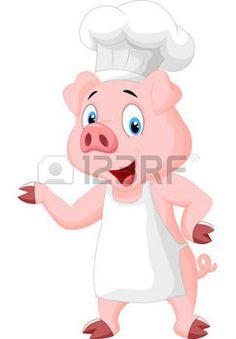 cute pig cartoon: Pig chef cartoon presenting