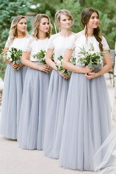 A Line Short Sleeves White Top Gray Long Tulle Bridesmaid Dresses A-Line Bridesmaid Dresses, Bridesmaid Dress, Lace White Bridesmaid Dresses, White Bridesmaid Dresses, Bridesmaid Dresses Lace Bridesmaid Dresses 2020 Two Piece Bridesmaid Dresses, Two Piece Formal Dresses, Grey Bridesmaids, Modest Bridesmaid Dresses, Wedding Dresses, Dresses Dresses, Party Dresses, Bridesmaid Skirt And Top, Pageant Dresses