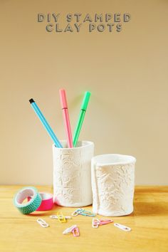 Learn how to make these #DIY stamped clay pots and store your pens in style.