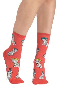 8a375fbd4  7.99 Wearable Whimsy Socks in Kittens - Coral