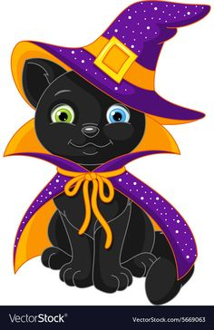 Cartoon cat wizard with different colored eyes for Halloween isolated on white background. Halloween Wood Crafts, Halloween Crafts For Toddlers, Halloween Projects, Halloween 2020, Holidays Halloween, Scary Halloween, Happy Halloween, Halloween Decorations, Bijoux Fil Aluminium