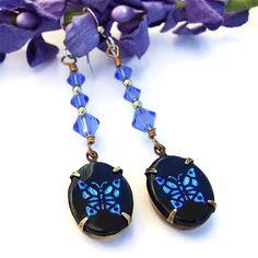 #Vintage #Butterfly #Intaglio Glass #Earrings Handmade Swarovski Jewelry | ShadowDogDesigns - Jewelry on ArtFire