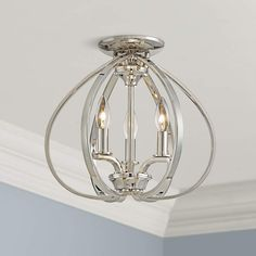 """MINKA LAVERY Tilbury 14"""" Wide Polished Nickel Ceiling Light $175 + AN EXTRA 15% OFF AT CHECKOUT - USE PROMO CODE: HELLOFALL19 FREE SHIPPING OR PICK UP - WEBSITE: GlowOnSunset.Net"""