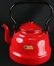 Vintage Polish Fire Engine Red Enamelware Water Kettle Teapot Coffee Time, Green And Gold, French Vintage, Tea Pots, Tea Kettles, Fire Engine, Red, Cups, Enamel