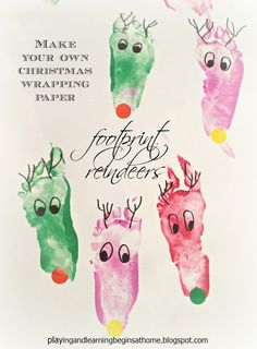 Playing and Learning Begins at Home: Foorprint Reindeer ~ Christmas Wrapping Paper