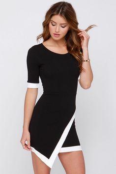 Cute Black and Ivory Dress - Short Sleeve Dress - $39.00