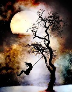 silhouette swing tree love in the moonlight Illustration, Stars And Moon, Belle Photo, Moonlight, Amazing Art, Awesome, Silhouettes, Fantasy Art, Fantasy Life