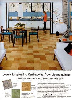 this flooring is throughout our basement Asbestos Tile, Chinese Architecture, Vintage Interiors, Style Tile, Mid Century House, Mid Century Modern Design, Life Magazine, Vinyl Flooring, Vintage Industrial