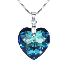Zucel Heart 925 Sterling Silver Pendant Necklace with Bermuda Blue Crystals From Swarovski By GoSparkling NL-68117 >>> For more information, visit image link. (This is an affiliate link) #Necklaces