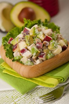 Chicken Waldorf Salad; Chicken, red apple, avocado, celery, walnuts . . . probably leaving out the sugar . . .