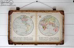Repurposed Antique Suitcase & Map Pages Mixed Media Wall Art via KnickofTime.net