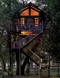 Wonderful Tree House Design For Your Kids With Smart Plans Awesome Kids Tree Hotel Motel And House With Dark Brown Elegant Stairs With Nice Glommy And Warm Lighting Concept