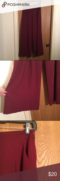 High Waisted Wide Leg Pants Burgundy color. Wide legs with pockets. Side zipper closure. High waisted. Worn once. These are on the thicker side of fabric. Not thin or cheap feeling. Pants Wide Leg