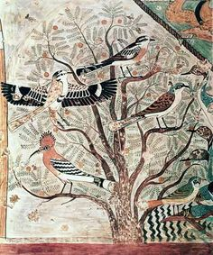 """Amazing Ancient Egyptian Painting """"Birds in an acacia tree, wall painting from Tomb of Khnumhotep III, Beni Hasan, Middle Kingdom"""" ca. 1950-1900 BCE. We can recognise the hoopoe bird (Upupa epops)."""