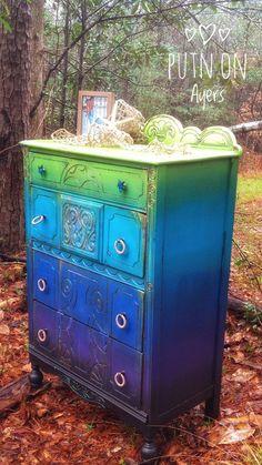 SOLD Vintage dresser | Etsy Diy Kids Furniture, Funky Painted Furniture, Refurbished Furniture, Paint Furniture, Repurposed Furniture, Furniture Decor, Furniture Design, Colorful Furniture, Handmade Furniture