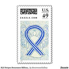 #ALS Stripes Awareness Ribbon Angel Postage Stamps - A white and blue striped awareness ribbon #angel art painting is featured on a custom postage stamp. Amyotrophic lateral sclerosis (ALS) also known as Lou Gehrig's Disease uses a blue and white striped colored ribbon for its cause. Personalize the blue and white stripes ALSawareness angel ribbon art postage stamps with customized messages!