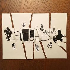 Artist Brings His Drawings To Life By Playing With A Simple Piece Of Paper 3d Paper Art, Paper Drawing, Funny Drawings, 3d Drawings, Kids Art Class, Art For Kids, Painting For Kids, Drawing For Kids, 3d Illusion Drawing