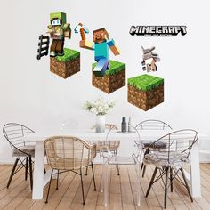 Wall Stickers Minecraft - Wall Decals™ - Wall Stickers For Kids, Ireland Wall Stickers Minecraft, Minecraft Wall, Minecraft Houses, 3d Wall Decals, Kids Room Wall Decals, Wall Clings, Outdoor Furniture Sets, Outdoor Decor, Decoration