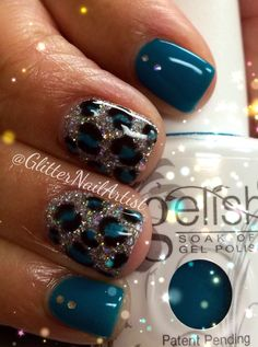 GlitterNailArtist| Animal print - neon nails - glitter - hand painted nail art - nail art ideas - teal nails - silver glitter