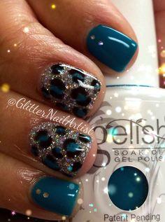 GlitterNailArtist| Animal print - neon nails - glitter - hand painted nail art - nail art ideas - teal nails - silver glitter