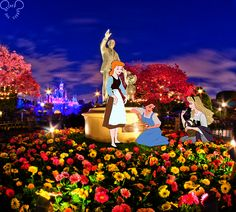 thedisneyseries:  Belle needed cheering up so the girls took her to smell the flowers, for anonymous!