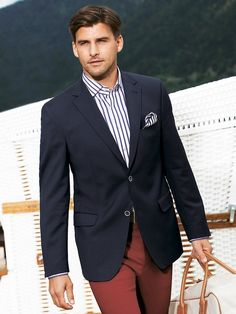 Navy blazer, blue and white striped shirt, red pants