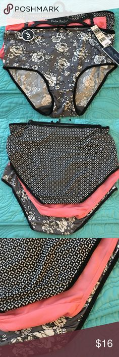 NWT 3 pack Delta Burke panties. 1X 💥 NWT 3 pack Delta Burke panties. 1X. Black and cream floral, white and black pattern, solid coral. Super soft and comfy. Get undies that fit! Retail $32 Delta Burke Intimates & Sleepwear Panties