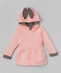 Love this Pink & Gray Hooded Peplum Jacket - Infant, Toddler & Girls on #zulily! #zulilyfinds