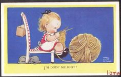MABEL LUCIE ATTWELL I'M DOING ME KNIT! GIRL KNITTING GIANT BALL WOOL ART CARD |