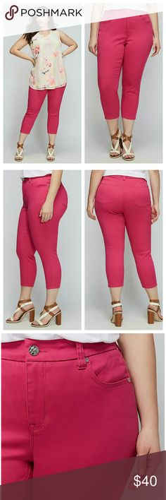 "PENCIL CAPRI MELISSA MCCARTHY SEVEN7 PINK COTTON BLEND MACHINE WASH IMPORTED INSEAM: 24""  Melissa McCarthy for Seven7 designed these pencil (skinny fit) capris in a fabric with just the right amount of stretch for a comfy, perfect fit. 4 pockets. Button & zip fly closure. Belt loops. Melissa McCarthy Pants Capris"