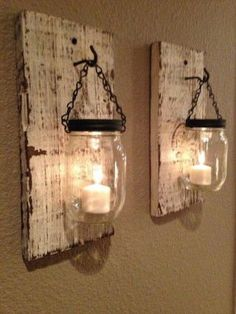 Mason Jar Hanging Wall Sconce.. One on each side of the bed would be awesome!