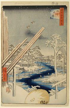 Utagawa Hiroshige - 106 - Snow at Fukagawa Lumberyard, 1857