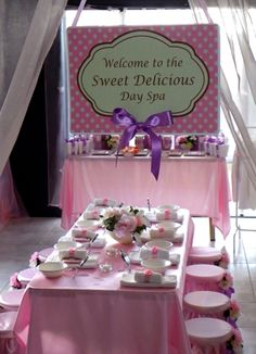 Sweet spa party idea ... look at the bowls and individual mirrors on the table!