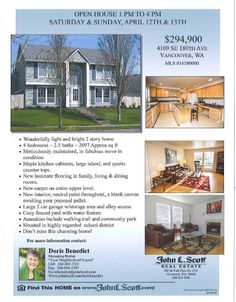 Real Estate For Sale: Sat & Sun OPEN House! $294,900-4 Bedroom, 2.5 Bath, 2097 SF Wonderfully Light & Bright 2 Story Meticulously Maintned Home on .14 Acre Lot in Vancouver, WA! Thanks for sharing Doris Benedict, John L. Scott Vancouver Office!   #RealEstate #ForSaleRealEstate #RealEstateForSale #VancouverRealEstate #RealEstateVancouver #OpenHouseRealEstate #RealEstateOpenHouse #HiddenbrookRealEstate #RealEstateHiddenbrook #FishersLandingRealEstate #TwoStoryRealEstate…