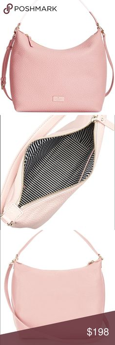 NWT Kate Spade Kaia Prospect Place Hobo Brand new with tags! Crafted of beautiful chunky pebbled cowhide leather with 14k gold plated hardware. This mid-size shoulder bag is lined in custom black and white poly twill bookstripe lining and offers in inner zippered pocket and two open slip pockets. It has a zip top closure and is accented on the front with Kate Spade's iconic logo. The leather handle has a drop of about 8 inches, or use the removable adjustable strap with a drop ranging from…