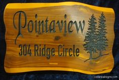 Cedar Address Sign 2 foot wide Pointaview #2 Custom carved from eastern cedar slab by cedarslabsigns.com Tree Scene Black Chancery Font