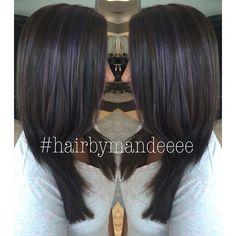 Added some subtle purple highlights  #joico #balayage #handpainting #hairbymandeeee #cilantrohairspa #purplehair #brownhair #modernsalon #behindthechair #frizzdismiss