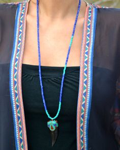 Long Turquoise & Agate Asymmetrical Beaded by uniquebeadingbyme