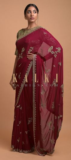 Scarlet Red Saree In Georgette With Cut Dana And Sequins Embroidered Floral Motifs Online - Kalki Fashion Red Saree, Saree Look, Indian Attire, Indian Outfits, Pakistani Bridal Dresses, Bridal Sarees, Modern Saree, Gold Blouse, Sari Dress