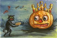 https://flic.kr/p/iRCUhs | Paying Homage to the 2014 Pumpkin King | Hand Painted postcard on ebay now