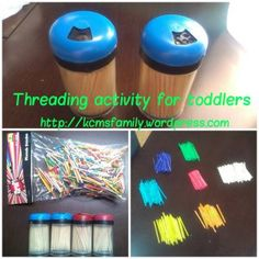 Busy bag idea.  Great activity for increasing fine motor control and awareness of spatial relationships.