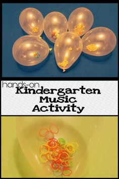 This music activity for kindergarten helps young children learn how they learn best - from hands-on experience. This lesson allows children to use instruments made from balloons. They hear the different sounds and make different beats. Preschool Music Activities, Movement Activities, Colour Activities, Sensory Activities, Music Lesson Plans, Kindergarten Lesson Plans, Music For Toddlers, Music For Young Children, Toddler Music