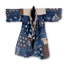 Boro Child's Kimono Kasuri Mallards and Waterwheels